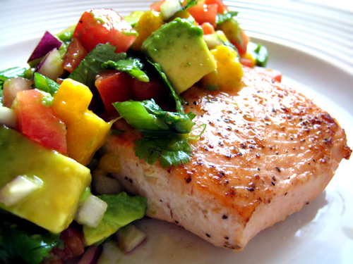 Pan Seared Salmon with Avocado Mango Chutney
